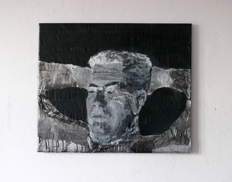 Directeur, acrylic and laquer on tinfoil and plastic, 55 x 65 cm, 2008